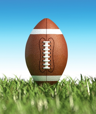 superbowl: American football ball, on the grass, with blue sky in the background, no clouds. Side view, from ground level. with foreground grass out of focus. (dof effect)