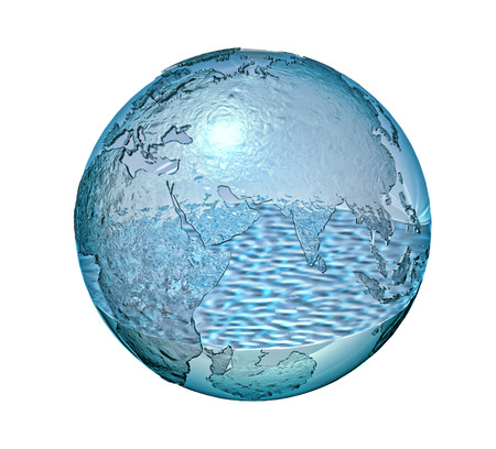 dry land: Planet Earth made of glass with a small quantity of water inside  Isolated On white background  Clipping path included  Stock Photo