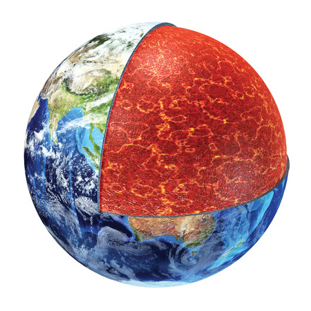 Earth cross section  Showing the upper mantle, made by plastic magnesium, iron, aluminium, silicon and oxygen Temperature 700 - 1300° Celsius  photo