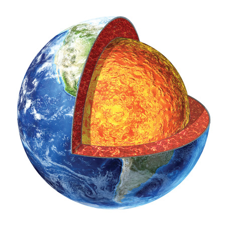 Earth cross section  Showing the lower mantle made by olivine, piroxene and feldspar  Temperature 1800 - 2800° Celsius  photo