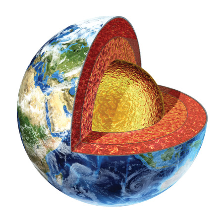 Earth cross section  Showing the outer core, made by liquid iron, sulfur, nickel and oxygen  Temperature 3200° Celsius