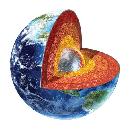crust: Earth cross section  Showing the inner core, made by solid iron and nickel, with a temperature of 4500° Celsius