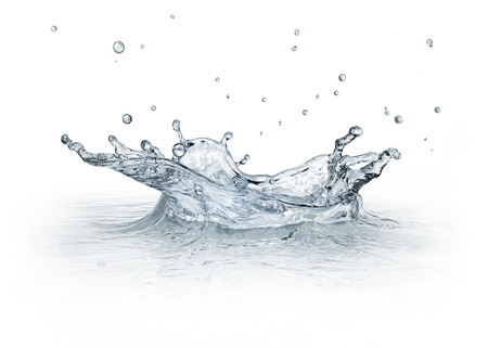 Water Splash isolated on white background, with some drops flying   CGI image