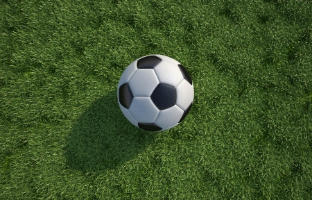 Soccerfootball  ball close up on grass lawn. Top view. In sun light with drop shadow. Horizontal format. Clipping path included. photo