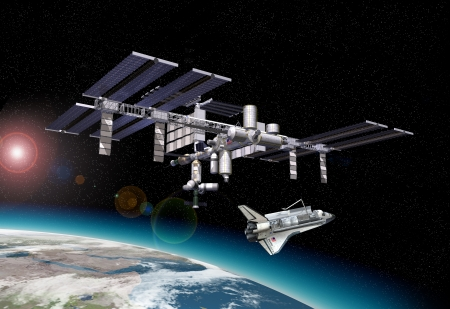 space travel: Space station in orbit around Earth, with Shuttle. with some starlights effects and a portion of the Earth at the bottom.