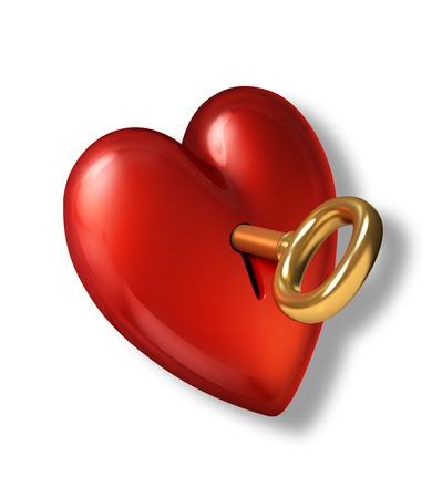 Red shiny heart with keyhole and golden key  On white background and clipping path included  photo