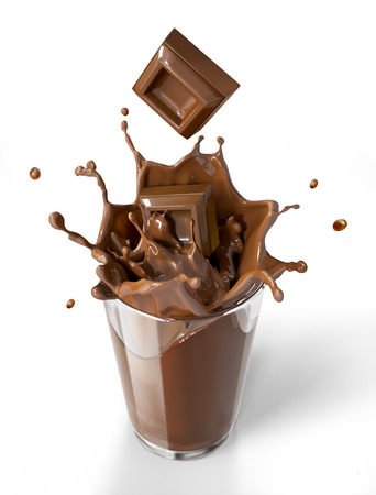 choco: Chocolate cubes splashing into a chocolate milkshake glass. Bird eye view, on white background. Clipping path included.