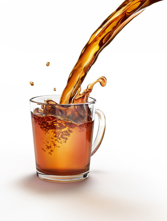 Tea pouring into a glass mug splashing. On a white surface and white background. Clipping path included. Standard-Bild