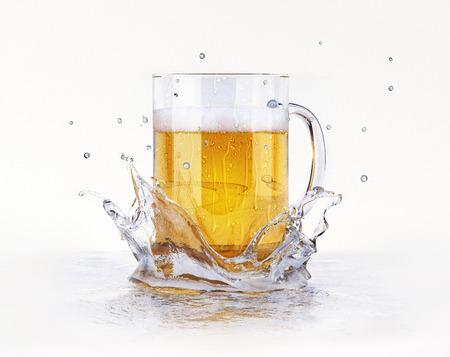 Mug of beer, with condensation droplets, splashing on a water surface, creating a crown splash. On white background. Reklamní fotografie