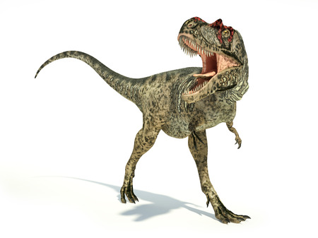 cretaceous: Albertosaurus Dinosaur, photorealistic and scientifically correct representation, dynamic posture. On white background with drop shadow. Clipping path included. Stock Photo