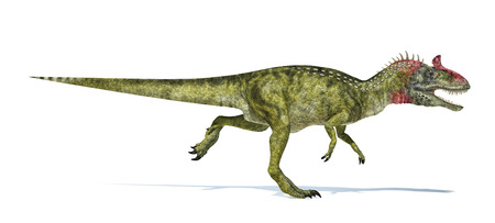scientifically: Cryolophosaurus dinosaur, photorealistic and scientifically correct representation. Side view, isolated on white background