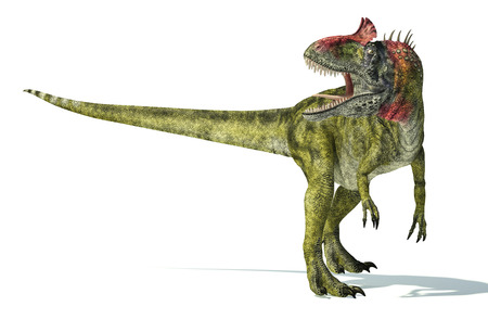 monstrous: Cryolophosaurus dinosaur, photorealistic and scientifically correct representation. Dynamic view, isolated on white background