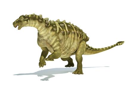 scientifically: Talarurus dinosaur, photorealistic and scientifically correct representation. Dinamic view.  Stock Photo