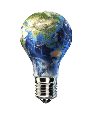 Light bulb with planet Earth in place of glass  Asia view  On white background  Clipping path included  photo