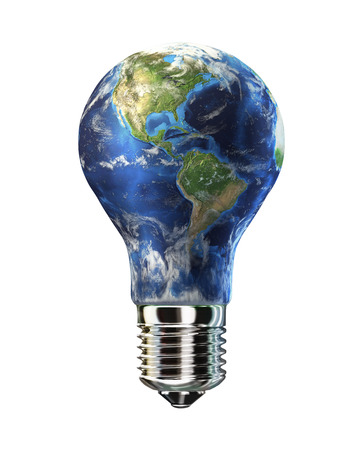 clean energy: Light bulb with planet Earth in place of glass  Amaricas view  On white background  Clipping path included