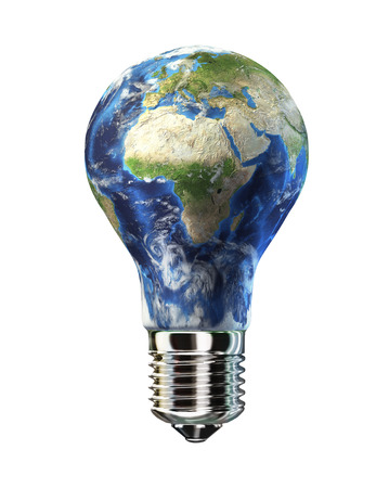 Light bulb with planet Earth in place of glass  Africa   Europe view  On white background  Clipping path included  photo