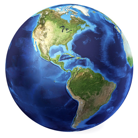 Earth globe, realistic 3 D rendering  Americas North and south view  On white background