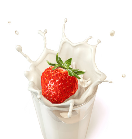 Strawberry falling into a glass of milk creating a splash  On white background  Clipping path included