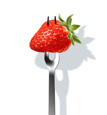 Strawberry on fork. Close up view on white background, with drop shadow. Clipping path included. photo