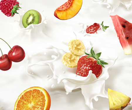 Various fruits, fruit salad,  falling into a sea of milk, causing a splash. Very close up view. photo