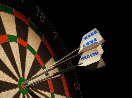 Dartboard with three darts in center target, with the types\ Health, Love and Work.