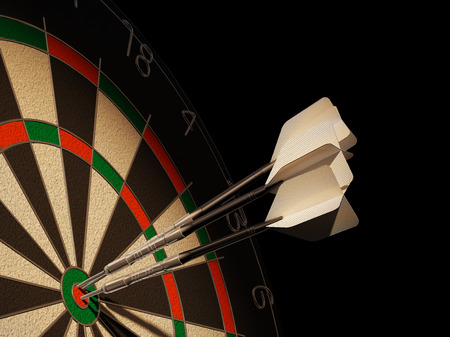 Dartboard with three darts in center target, with blank tails. Stok Fotoğraf
