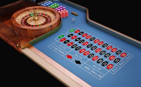 Roulette table close up view. Blue felt.