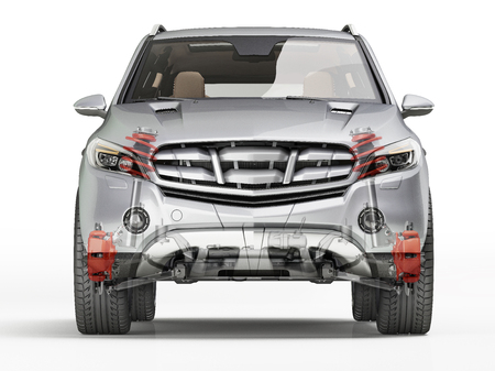 Suv front suspension system in ghost effect. Front view. On white background. Clipping path included.