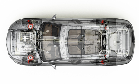 Suv detailed cutaway representation, view from top. With ghost effect. On white background, clipping path included.