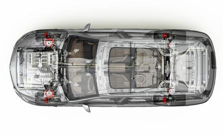Suv detallado cutaway representación, vista desde arriba. Con efecto fantasma. En el fondo blanco, trazado de recorte incluido. Foto de archivo - 85471049