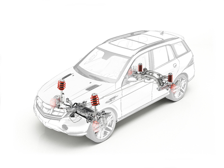 Suv technical drawing showing realistic suspension system in ghost effect. On white background.