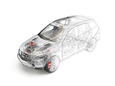 Suv 자동차 자세한 묘착 표현입니다. 고스트 효과의 모든 주요 세부 사항이 기술 도면으로 전환되었습니다. 흰색 배경이.