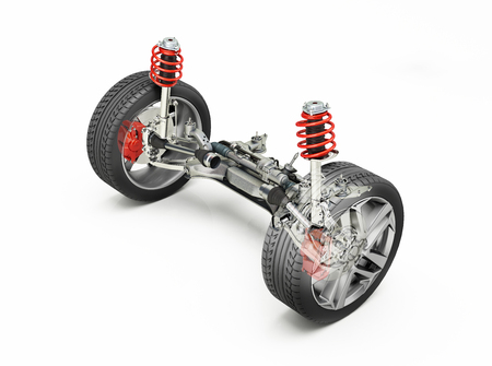 Multi link front car suspension, brakes and wheels, with ghost effect. On white background. Clipping path included. Stock Photo