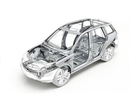 Suv dessin technique montrant le châssis de la voiture réaliste en effet de fantôme. Sur fond blanc