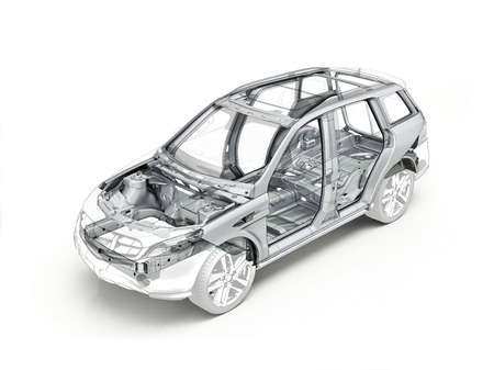 Suv technical drawing showing the car chassis realistic in ghost effect. On white background. Standard-Bild