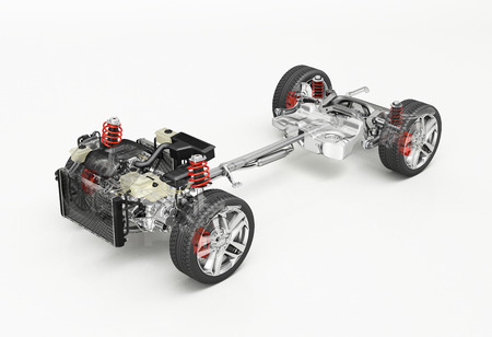 SUV Car Under carriage technical 3 D rendering. Perspective view. On white background.