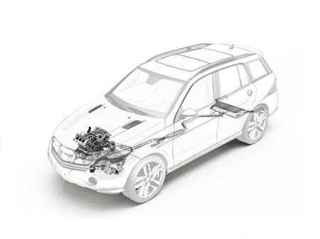Suv 장면 전환 드로잉 유령 효과에서 현실적인 엔진 및 배기 시스템을 게재합니다. 흰색 배경이.