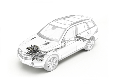 Suv cutaway drawing showing realistic engine and exhaust system in ghost effect. On white bacground.