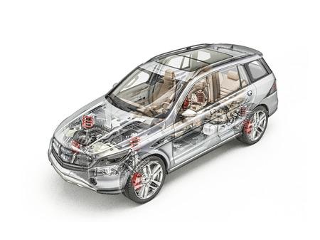 Generieke SUV-auto gedetailleerde cutaway 3D-realistische weergave. Harde blik. Met alle belangrijke details in Ghost-effect. Op witte gemaakt. Uitknippad inbegrepen.