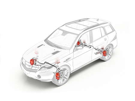 cutaway drawing: Suv technical drawing showing realistic brakes system in ghost effect on white background.