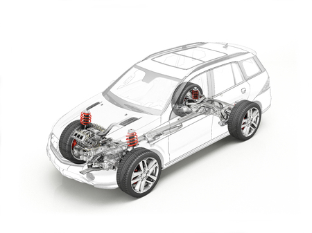Suv technical drawing showing realistic undercarriage details in ghost effect. On white bacground.
