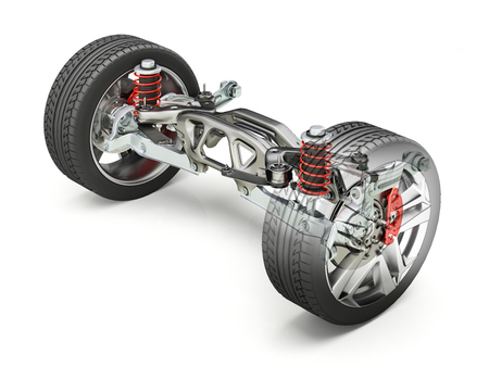 Multi link rear car suspension, brakes and wheels, with ghost effect. Clipping path included.