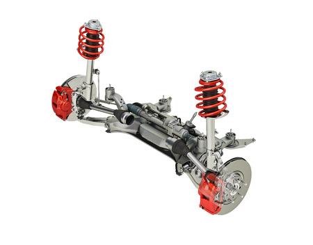 멀티 링크 프론트 SUV 자동차 서스펜션, 브레이크 장착. 전망보기. 흰색 배경, 클리핑 패스에 포함. 3D 렌더링입니다.