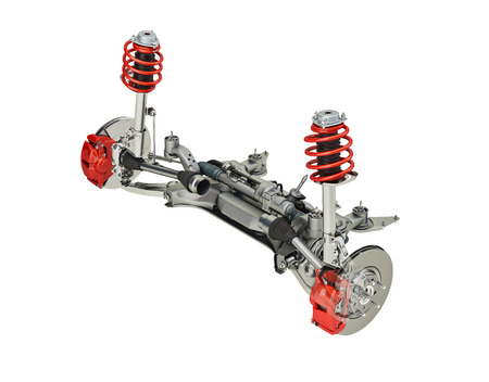 Multi link front SUV car suspension, with brakes. perspective view. On white background, clipping path included. 3D rendering.