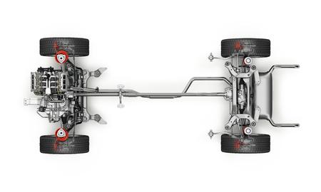 SUV 자동차 캐리지 기술 3 D 렌더링 아래에서 볼. 흰색 배경에.