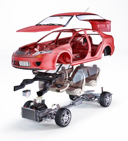Generic sedan car, technical exploded illustration, on white background.