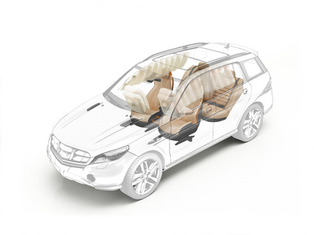 Suv technical drawing showing seats and airbags in ghost effect. On white bacground.