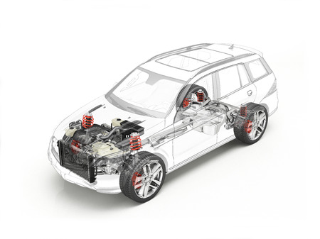 Suv cutaway drawing showing realistic undercarriage details plus accessories in ghost effect. On white bacground.