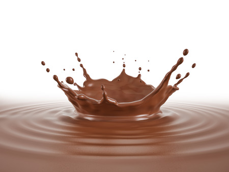 Liquid Chocolate pool with crown splash and ripples. Isolated On white background. perspective low view point. Imagens - 115101994