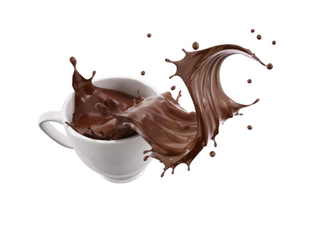 White porcelain Mug cup with liquid chocolate wave splash. Isolated on white background. Clipping path included.